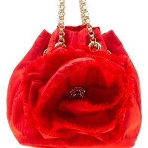 Carolina Herrera Bucket Red Nylon Shoulder Bag